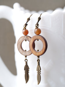 Tiger's Eye Shell Hoop Earrings With Feathers