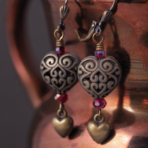 Antiqued Brass Filigree Heart Earrings