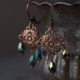 Antiqued Copper Art Nouveau Chandelier Earrings