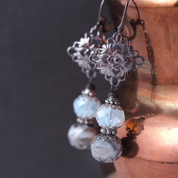 White & Gray Gunmetal Filigree Earrings
