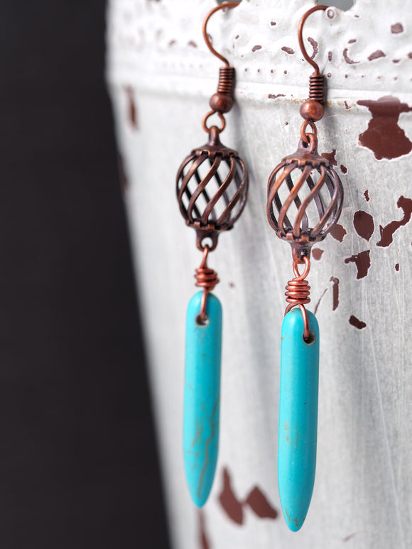 Turquoise and Copper Cage Bead Earrings