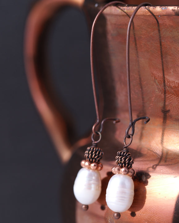 Antiqued Copper and Natural Freshwater Pearl Earrings
