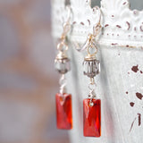 Red Chandelier Crystal Earrings