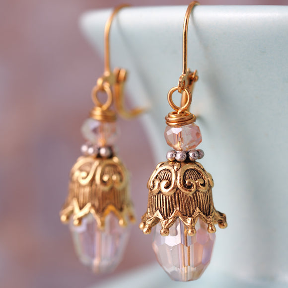 Pink Crystal and Gold Earrings