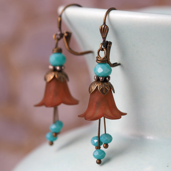 Brown & Turquoise Day Lily Flower Earrings