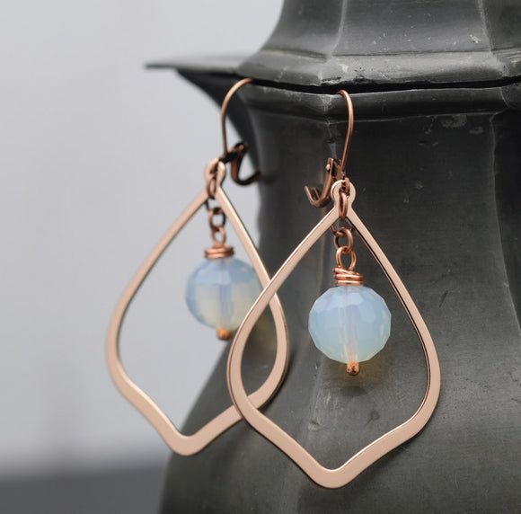 Rose Gold and Opalite Teardrop Hoops