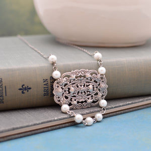 Silver Filigree Medallion and Pearl Necklace