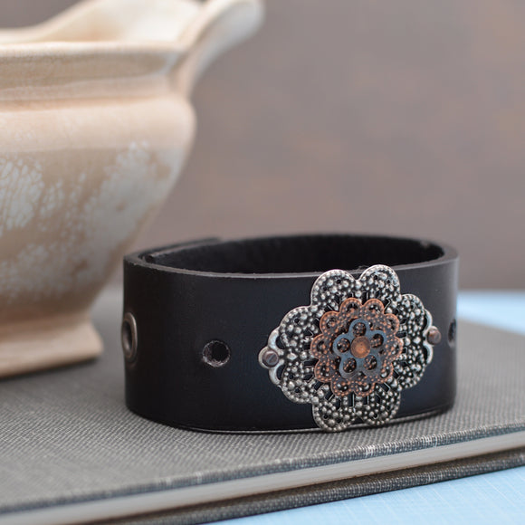 Black Leather Cuff Bracelet