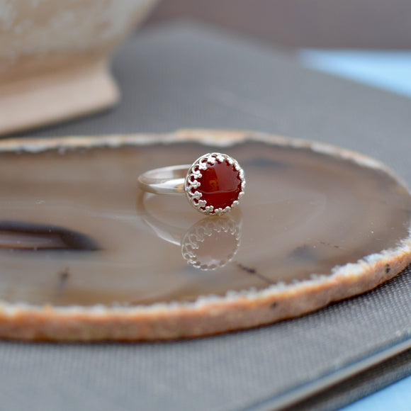 Sterling Silver Dark Carnelian Ring