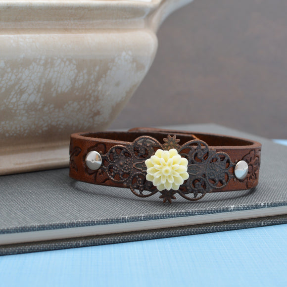 Leather Narrow Cuff Bracelet