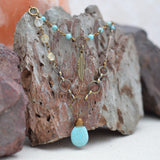 Boho Necklace with Turquoise and Citrine Stones and Feather Charm