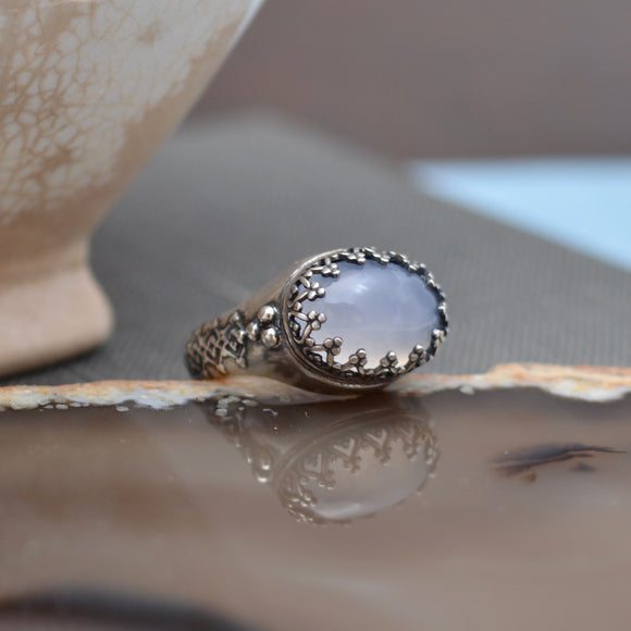 Blue Gray Ice Agate Sterling Silver Ring