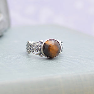 Sterling Silver Faceted Tiger's Eye Ring