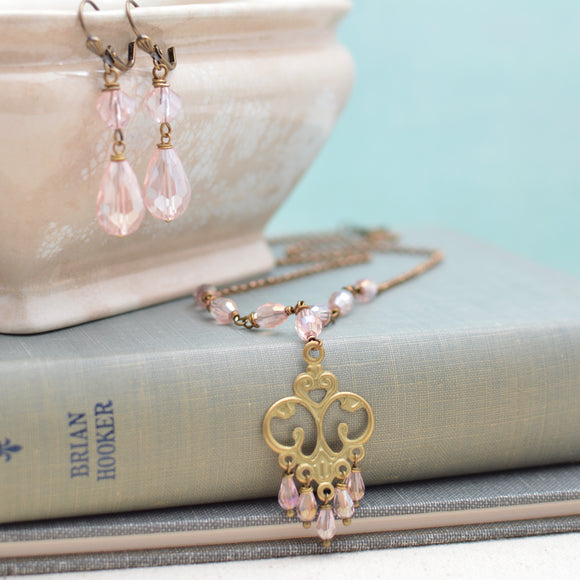 Pink and Antiqued Brass Art Nouveau Necklace and Earrings Set