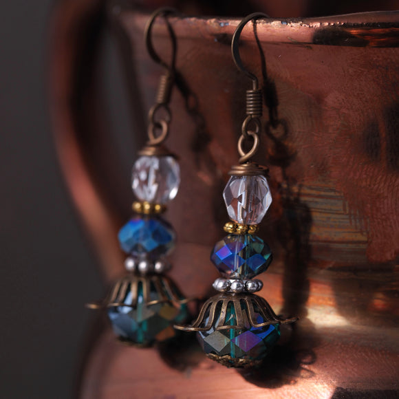Blue Green Copper and Silver Mixed Metal Earrings