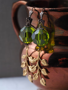 Vintage Green Acrylic Bead Earrings with Gold Leafy Branch Dangles