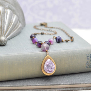 Banded Agate and Amethyst Druzy Pendant Necklace
