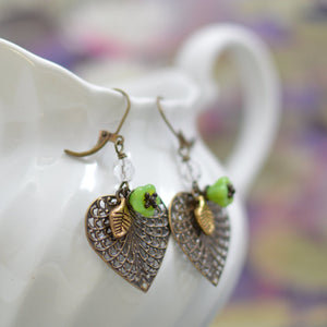 Brass Heart-Shaped Filigree Earrings w/ Peridot Green Czech Glass Flowers