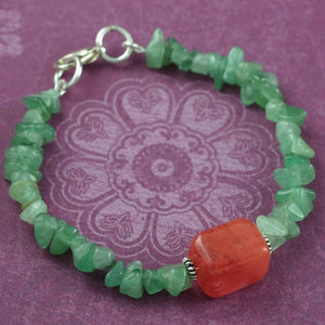 Green Aventurine and Cherry Quartz Gemstone Bracelet