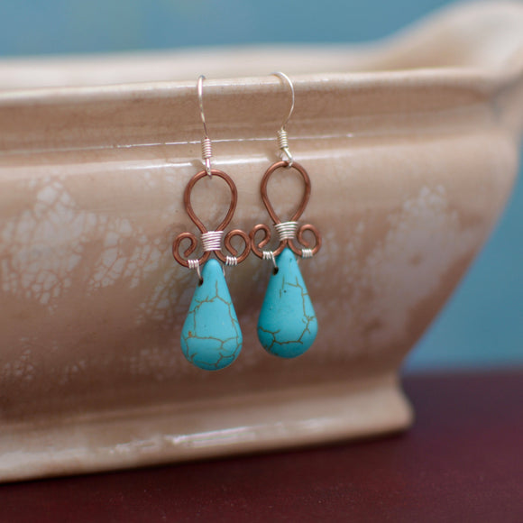 Wire Wrapped Reconstituted Turquoise Teardrop Earrings