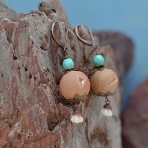 Round Druzy Stone Earrings