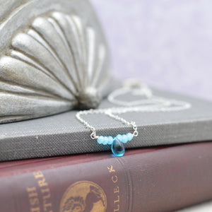 Aquamarine Tiny Teardrop Bar Necklace