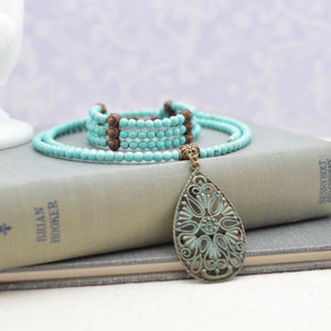 Turquoise Choker Necklace and Bracelet Set