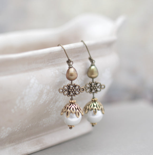 Antiqued Gold and Pearl Earrings