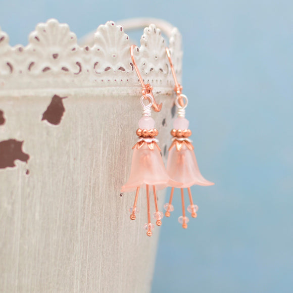 Pink Day Lily Flower Earrings