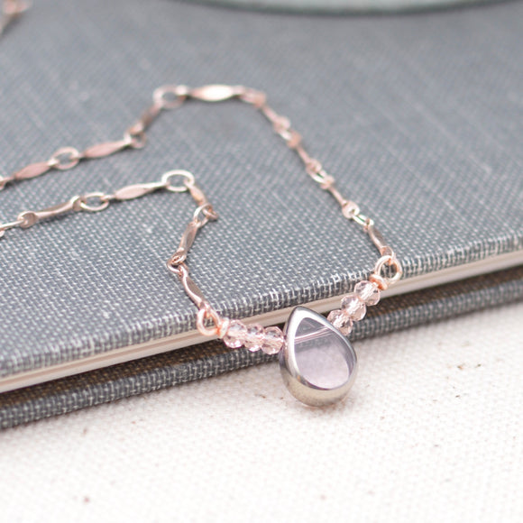 Pink and Rose Gold Teardrop Bar Necklace