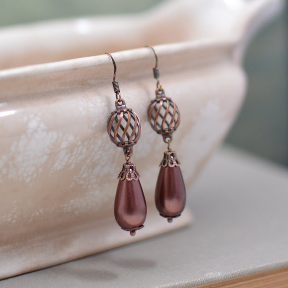 Copper Pearl Teardrop Earrings