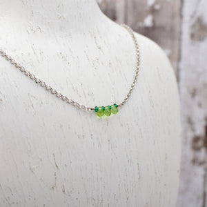 Peridot Tiny Teardrop Bar Necklace