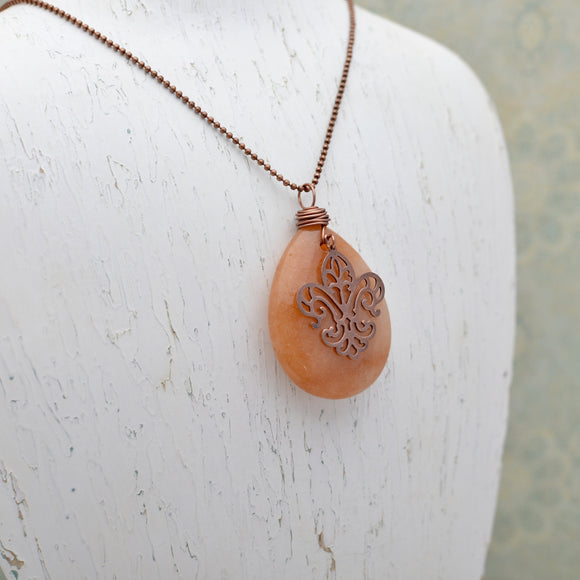 Red Aventurine Pendant Necklace with Copper Fleur de Lis
