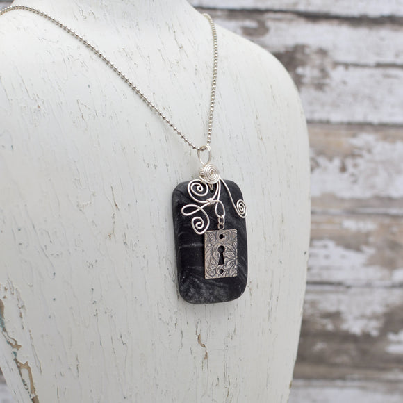 Black and Grey Marble Pendant Necklace with Vintage Lock Charm