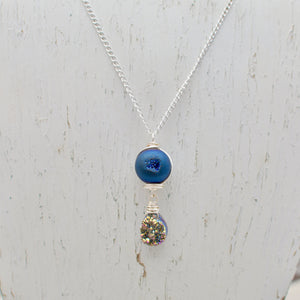 Agate Druzy Geode and Druzy Teardrop Necklace