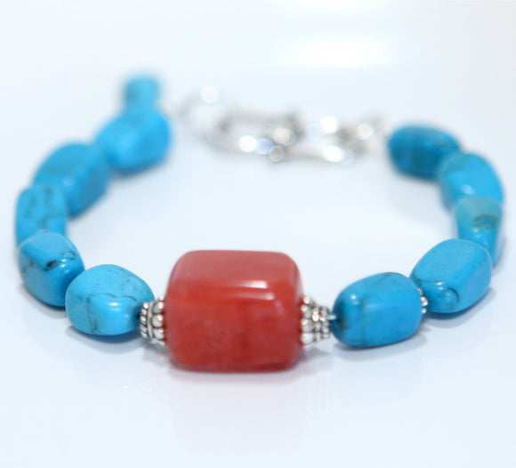 Turquoise and Cherry Quartz Sterling Silver Bracelet