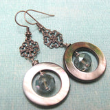 Mother of Pearl Hoops and Silver Filigree Earrings