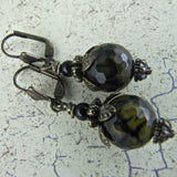 Dragon's Vein Agate Black Onyx and Antiqued Brass Earrings