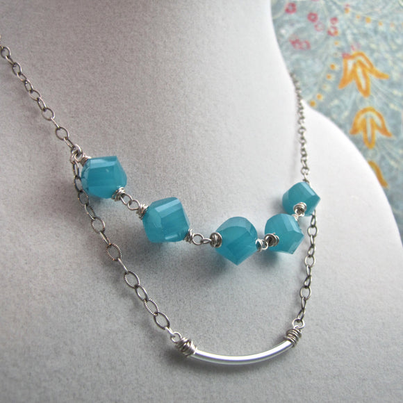 Sterling Silver Double Strand Necklace with Aquamarine Czech Glass Beads