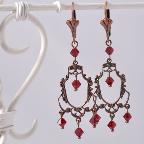 Art Deco Aged Copper Filigree Chandelier Earrings