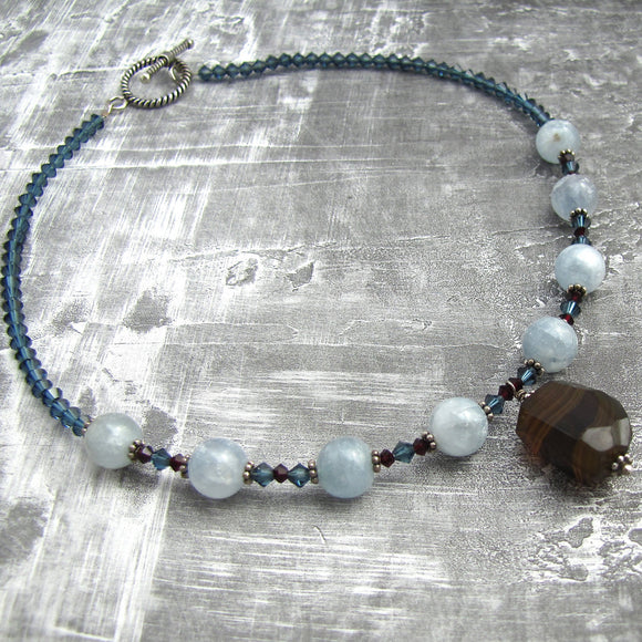 Statement Necklace One of a Kind Necklace Unique Necklace Sterling Silver Banded Agate Necklace Celestite Garnet Sapphire Swarovski Crystals