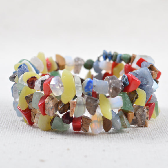 Multicolored Gemstone Wrapped Bracelet