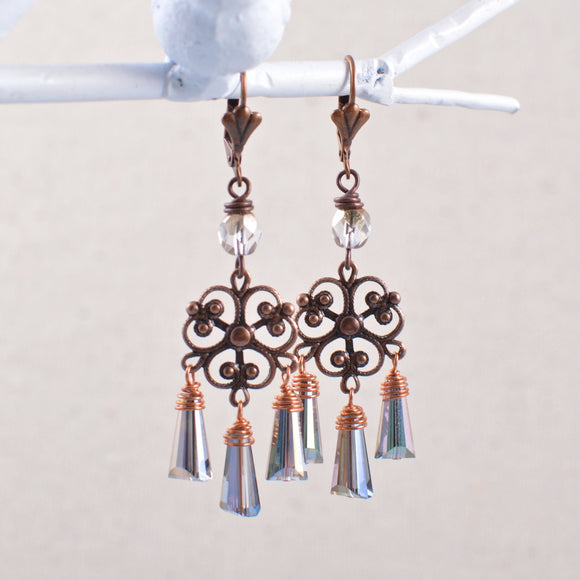 Aged Copper Filigree Art Deco Chandelier Earrings