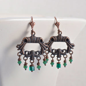 Antiqued Copper Chandelier Earrings