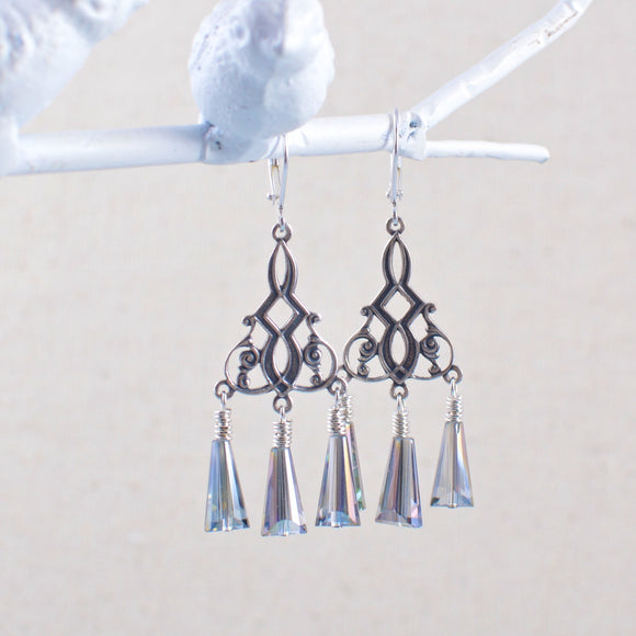 Silver Chandelier Earrings with Silver Crystals