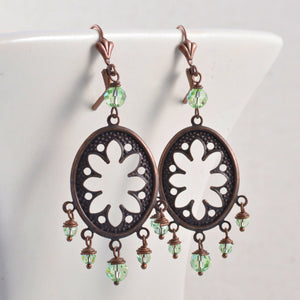 Antiqued Copper Oval Filigree Chandelier Earrings