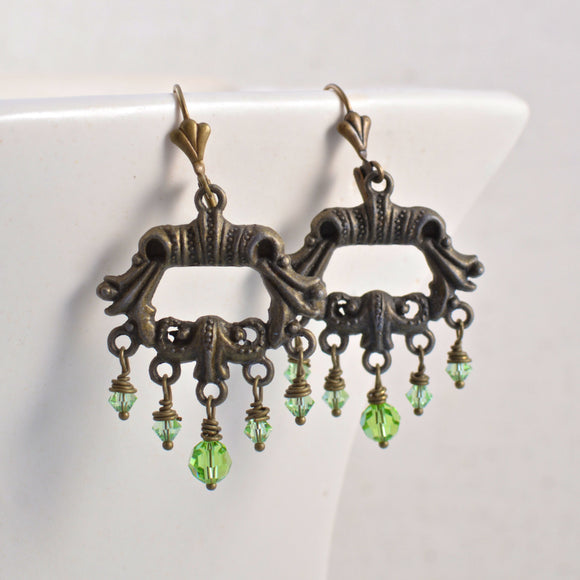 Antiqued Brass Chandelier Earrings