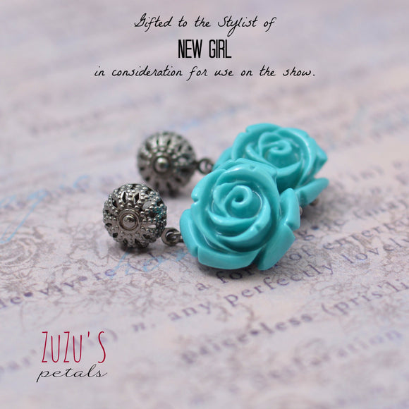 Turquoise Rose Earrings