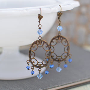 Chandelier Earrings with Sapphire Blue & Blue Topaz Swarovski Crystals