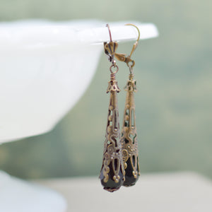 Long Black and Filigree Teardrop Earrings